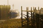 low tide, boat at wharf, Brier Island, Nova Scotia, Canada