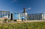 a truck hauling soybeans to an inland terminal, near Winnipeg, Manitoba, Canada