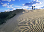 two hiker walks at the Spirit Sands, Spruce Woods Provincial Park,  Manitoba, Canada