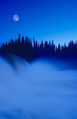 moonrise at Pisew Falls along the Grass River, Manitoba, Canada