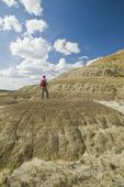 hiking in the Killdeer Badlands, East Block, Grasslands National Park, Saskatchewan, Canada