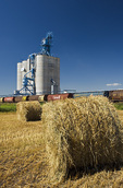 oat rolls in front of inland grain terminal Souris, Manitoba, Canada