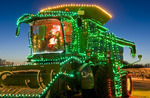 combine with Christmas lights, Manitoba, Canada