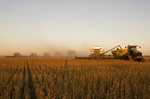 a combine unloads on the go during the soybean harvest, near Lorette, Manitoba, Canada