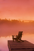 chair on dock, Glad Lake, Duck Mountain Provincial Park, Manitoba, Canada