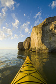 kayaking along limestone cliffs, Steep Rock, along Lake Manitoba, Canada