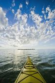 kayaking along Lake Manitoba near Steep Rock, Manitoba, Canada