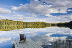 chair on dock, Spray Lake , Duck Mountain Provincial Park, Manitoba, Canada