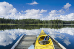kayak on dock , Two Mile Lake , Duck Mountain Provincial Park, Manitoba, Canada