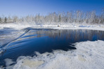 winter along the Whiteshell River at Rainbow Falls, Whiteshell Provincial Park, Manitoba, Canada