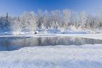 winter along the Whiteshell River at Rainbow Falls, Whiteshell Provincial Park, Manitoba, Canada