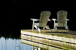 chairs on dock, Glad Lake , Duck Mountain Provincial Park, Manitoba, Canada