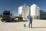 man stands in front of a farm truck carrying wheat being unloadd into  grain storage bins in a farmyard, near Lorette, Manitoba