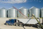 a super B grain truck being loaded with barley from grain storage bins near St. Jean,  Manitoba, Canada