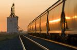 moving rail hopper cars, inland grain terminal, Dunmore, Alberta , Canada