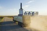 a truck leaves an inland grain terminal after hauling grain, Assiniboia, Saskatchewan, Canada