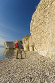 hiker along limestone cliffs, Steep Rock, along Lake Manitoba, Canada