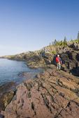 hiker, Pukaskwa National Park, Lake Superior, Ontario, Canada