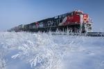 train, winter hoarfrost, near Dufresne,  Manitoba, Canada