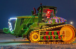 tractor with Christmas lights, Manitoba, Canada