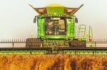 soybean harvest near Niverville, Manitoba, Canada