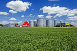 farm with wheat field near Torquay Saskatchewan, Canada