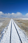 railroad covered with snow, near Hazenmore, Saskatchewan, Canada