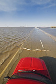 Red River flooding of  Highway 75 and farmland in the Red River Valley  near Morris, Manitoba, Canada
