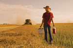 a teenage farm brings supper to a combine operator during the canola harvest, Tiger Hills,  Manitoba, Canada
