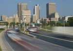 blurred traffic, Water and Pioneer Avenues- leading in and out of downtown area, Winnipeg, Manitoba, Canada