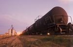 rail tanker cars at a canola crushing plant, St. Agathe, Manitoba, Canada