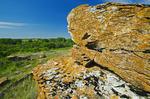sedimentary rock formations, Souris River  Valley near Roche Percee, Saskatchewan, Canada
