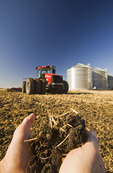 close-up of hand holding soil and wheat stubble. Out of focus tractor pulling cultivating equipment and grain storage bins in the background, near Lorette, Manitoba, Canada