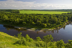 Souris River Valley showing the Souris River and farmland in the distance, near Wawanesa, Manitoba, Canada