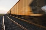 rail hopper cars on the move, near Winnipeg, Manitoba, Canada
