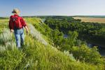hiking, Souris River Valley near Wawanesa, Manitoba, Canada