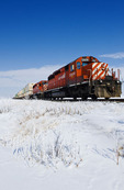 rail cars carrying containers near Winnipeg, Manitoba, Canada