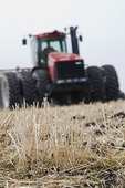 moving tractor and and air till seeder planting canola in low till wheat  stubble, near Dugald, Manitoba, Canada