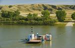ferry across the South Saskatchewan River,  Lemsford, Saskatchewan, Canada