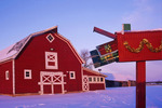 red barn with mailbox, winter, near Oakbank, Manitoba, Canada