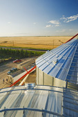 close up of grain storage bins with truck loaded with oats, during the harvest, wheat field in the background, near Lorette,  Manitoba, Canada