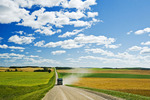 a truck on a country road with farmland on either side of the road,  Tiger Hills, Manitoba, Canada