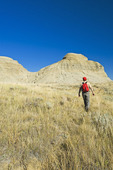 hiking in the Killdeer Badlands, East Block, Grasslands National Park, Saskatchewan, Canada
