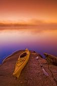 kayak,Bunny Lake, near Sioux Narrows, Northwestern Ontario, Canada