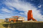 old truck, grain elevator, Stoughton, Saskatchewan, Canada