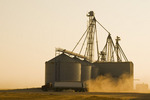 a farm truck with grain storage facility, near Somerset, Manitoba, Canada