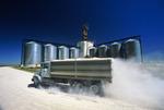 truck hauling grain to an inland terminal, near Winnipeg, Manitoba, Canada i