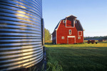 red barn , close-up of grain storage bin,  Manitoba, Canada