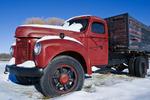 old farm truck, winter, near Carman, Manitoba, Canada