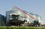 combine harvesters leave a farmyard on the way to the harvest, near Lorette, Manitoba, Canada